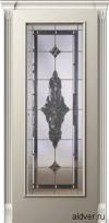 Корсика (слоновая кость эмаль), бевелс-витраж Черное зеркало от 39 000 руб.
