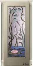Корсика (белый ясень) с бевелс-витражом Журавль и Лотос от 42 000 руб.