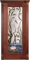 Корсика (красное дерево) с бевелс-витражом Журавль + Лотос