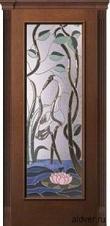 Корсика (дуб каштан светлый) с бевелс-витражом Журавль и лотос от 35 500 руб.
