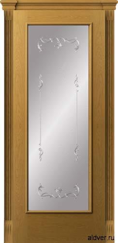 Корсика со стеклом с рисунком по стеклу Серебряный штрих (дуб натуральный)