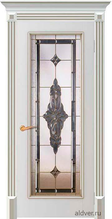 Корсика с витражом Черное зеркало (бронзовая патина по белой эмали)