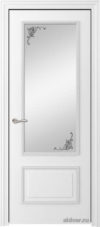 Грация с резным багетом (белая эмаль, стекло Серебряный штрих)