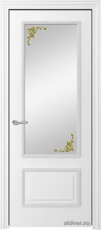 Грация с резным багетом (белая эмаль, стекло Зололотой штрих)
