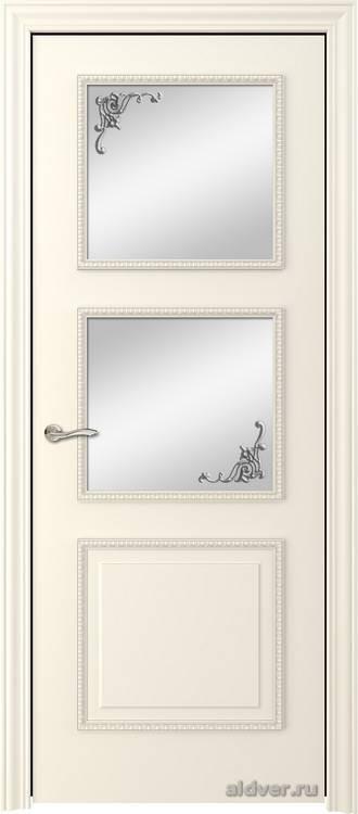 Империя с резным багетом (эмаль слоновая кость, стекло Серебряный штрих)