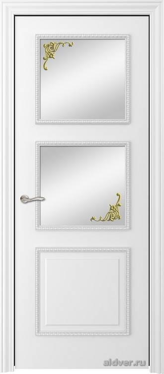 Империя с резным багетом (эмаль белая, стекло Золотой штрих)