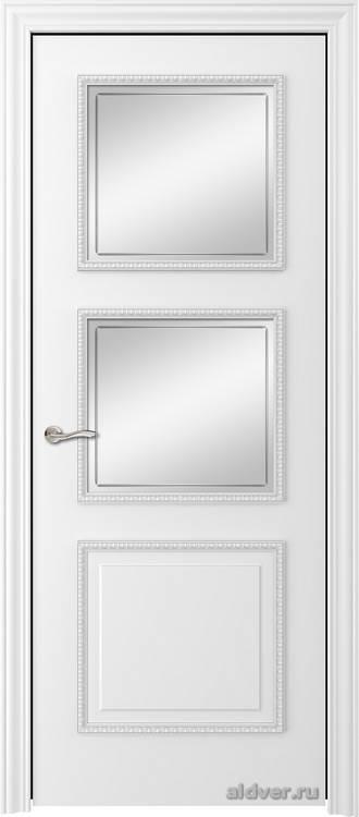 Империя с резным багетом (эмаль белая, стекло с контуром)