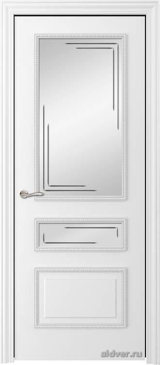 Версаль с резным багетом (эмаль белая, стекло Linea)
