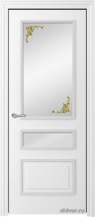 Версаль с резным багетом (эмаль белая, стекло Золотой штрих)