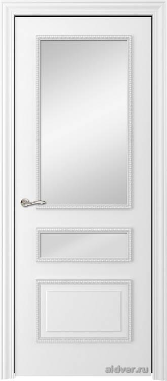 Версаль с резным багетом (эмаль белая, стекло Металюкс)