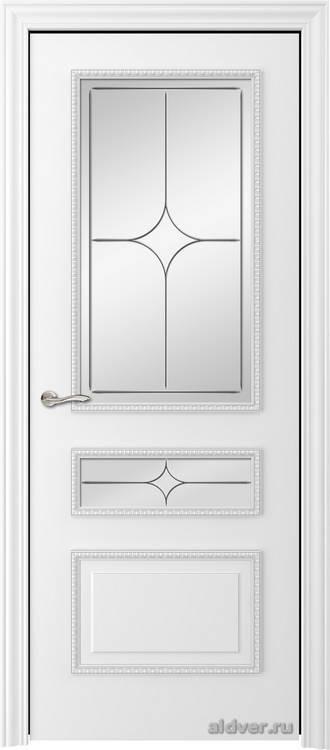 Версаль с резным багетом (эмаль белая, стекло Italia)