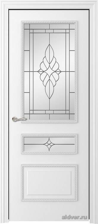 Версаль с резным багетом (эмаль белая, стекло Желтое зеркало)