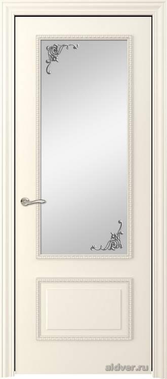 Грация с резным багетом (эмаль слоновая кость, стекло Серебряный штрих)