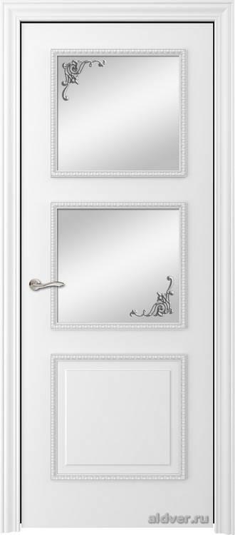 Империя с резным багетом (эмаль белая, стекло Серебряный штрих)