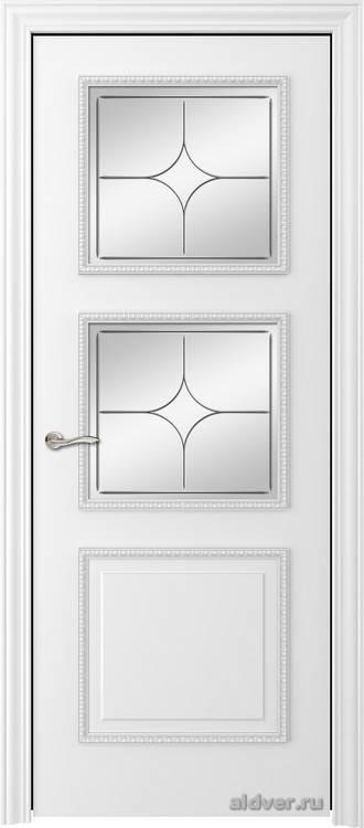 Империя с резным багетом (эмаль белая, стекло Italia)