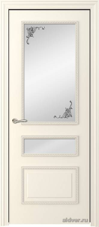 Версаль с резным багетом (эмаль слоновая кость, стекло Серебряный штрих)