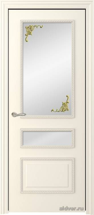 Версаль с резным багетом (эмаль слоновая кость, стекло Золотой штрих)