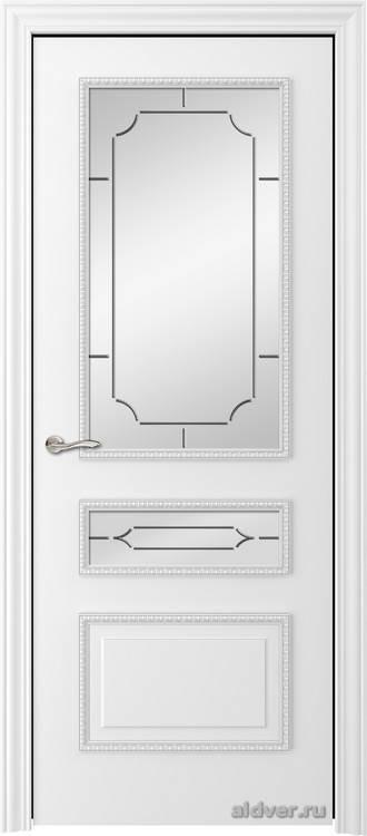 Версаль с резным багетом (эмаль белая, стекло Conte)