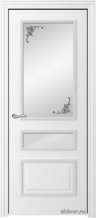 Версаль с резным багетом (эмаль белая, стекло Серебряный штрих)
