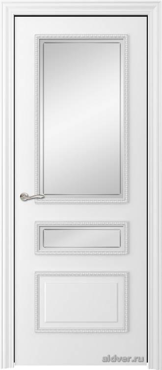 Версаль с резным багетом (эмаль белая, стекло с контуром)